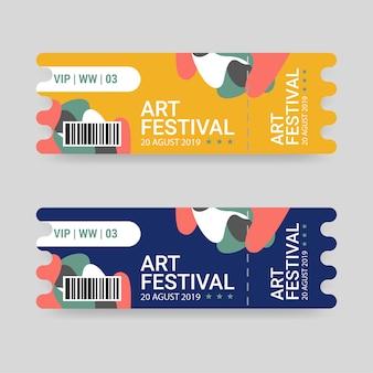 Modelo de bilhete para festival de arte com cores azuis e amarelas