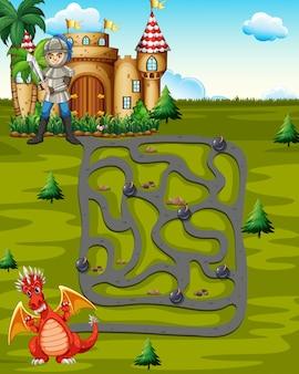 Modelo de boardgame com cavaleiro e dragão