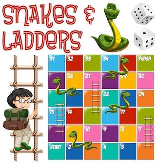 Modelo de boardgame com ilustração de escadas e cobras