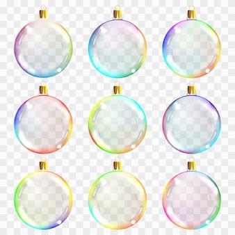 Modelo de bolas de natal transparente de vidro.