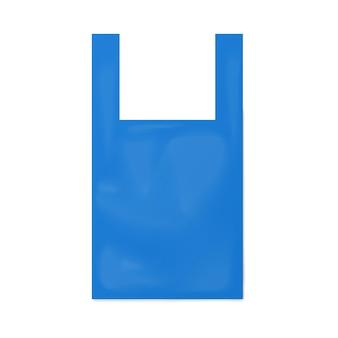 Modelo de bolsa de camiseta azul descartável ilustração vetorial realista isolada