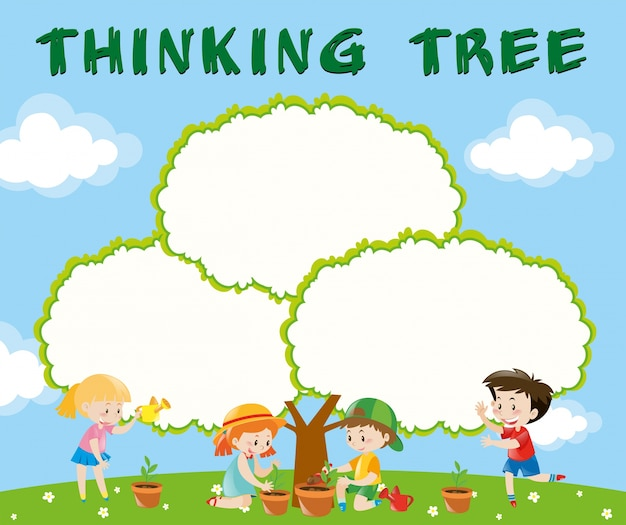 Modelo de borda com crianças plantando árvores
