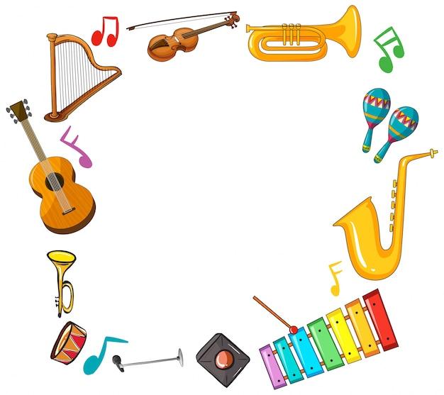 Modelo de borda com instrumentos musicais
