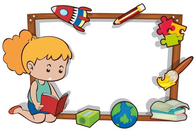 Modelo de borda com livro de leitura de menina