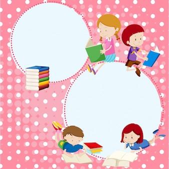 Modelo de borda com muitas crianças lendo livros
