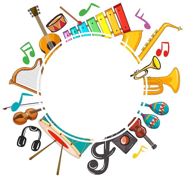 Modelo de borda com notas musicais e instrumentos