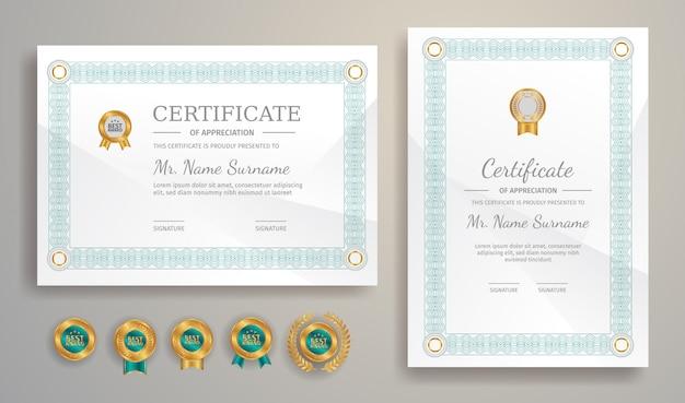 Modelo de borda de certificado para documento de impressão de conquista