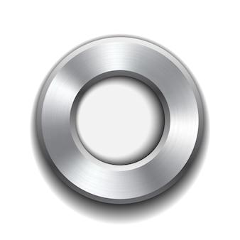 Modelo de botão de donut com textura de metal. ilustração.