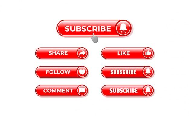 Modelo de botão de inscrição. compartilhar, seguir, comentar, gosto