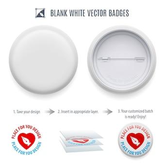 Modelo de botão de pin-back em branco