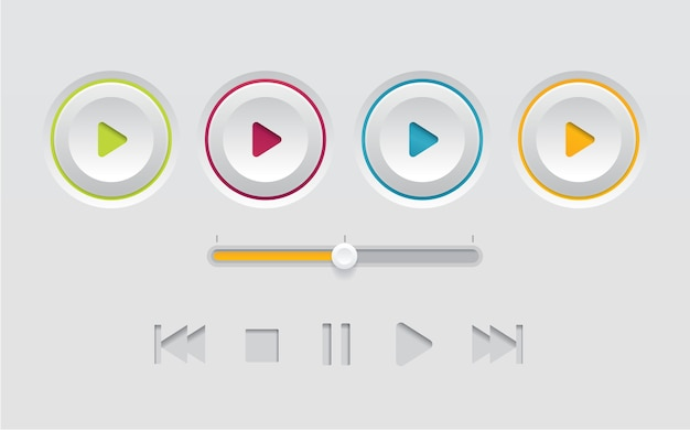 Modelo de botão de reprodução de interface branca