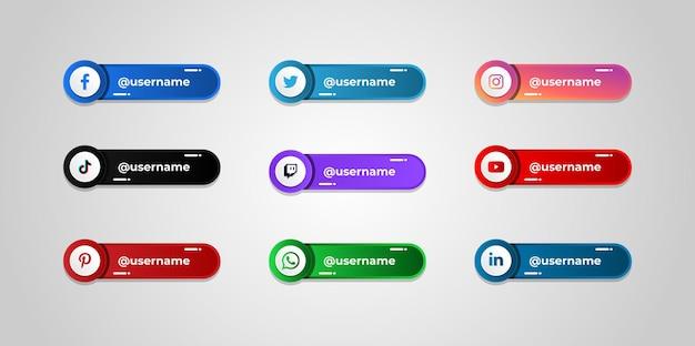 Modelo de botões de nome de usuário de mídia social
