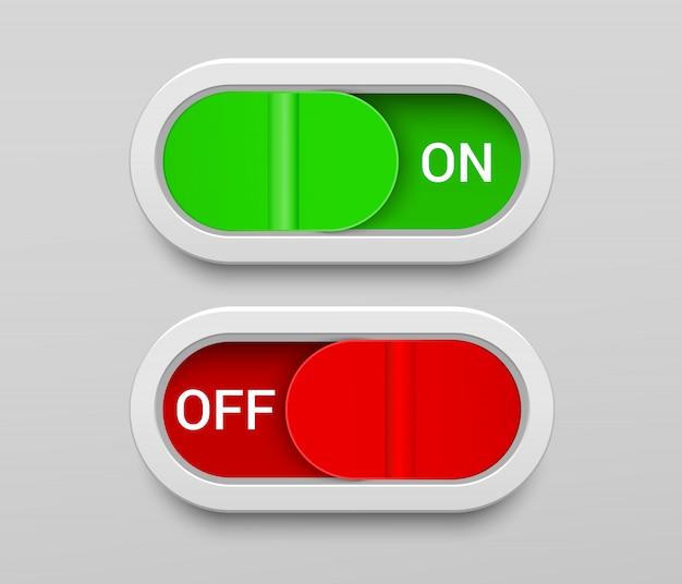 Modelo de botões do interruptor on e off
