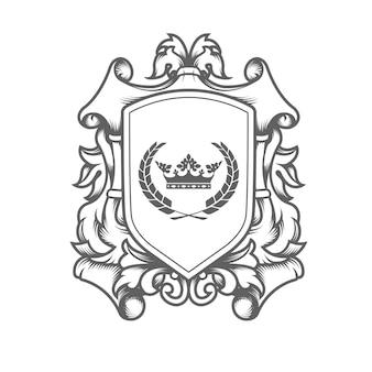 Modelo de brasão imperial de luxo, escudo heráldico entrelaçado com coroa de rei
