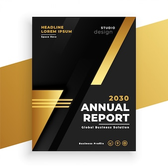 Modelo de brichure de relatório anual moderno preto e dourado