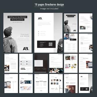Modelo de brochura - 16 páginas de negócios mínimos