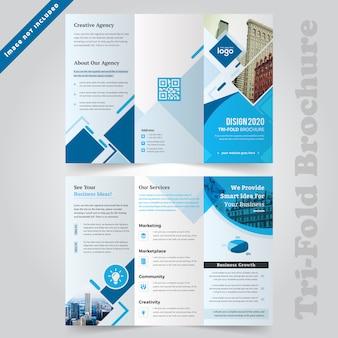 Modelo de brochura - azul corporativo com três dobras