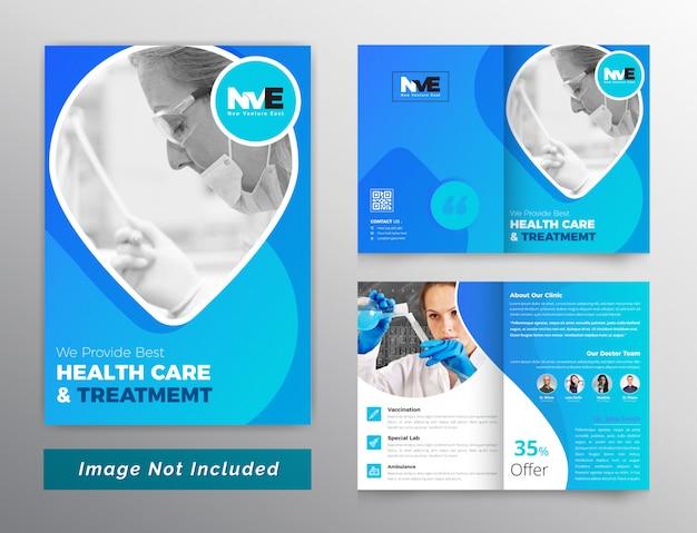 Modelo de brochura - bifols de cuidados médicos e de saúde