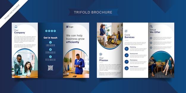 Modelo de brochura com três dobras azul