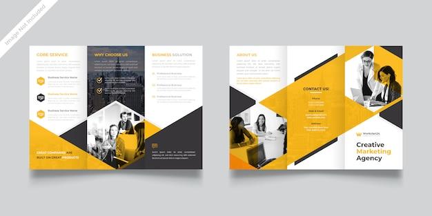 Modelo de brochura com três dobras corporativa premium