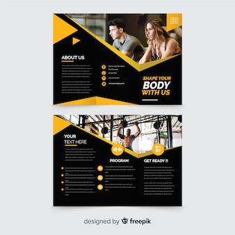 Modelo de brochura com três dobras de ginástica
