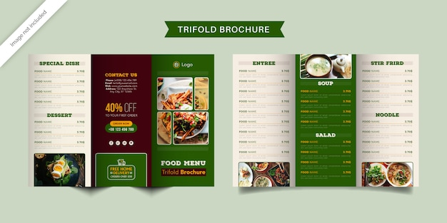 Modelo de brochura com três dobras de menu de restaurante de fast-food