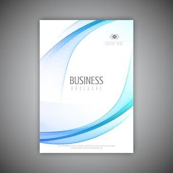 Modelo de brochura comercial com design de linhas fluidas