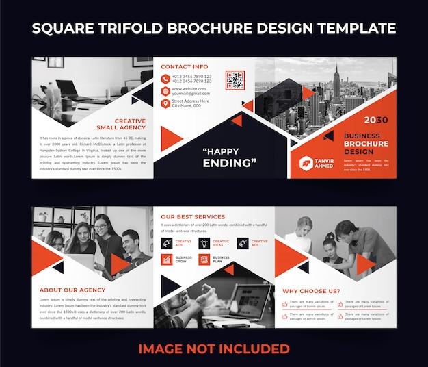 Modelo de brochura - corporativo quadrado com três dobras