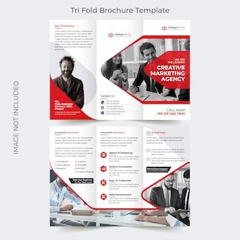 Modelo de brochura - criativo vermelho negócio tri-fold