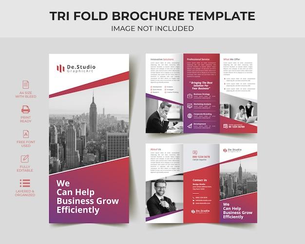 Modelo de brochura - dobrável em três partes editável