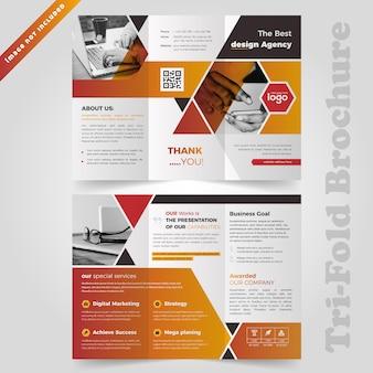 Modelo de brochura - negócio com três dobras