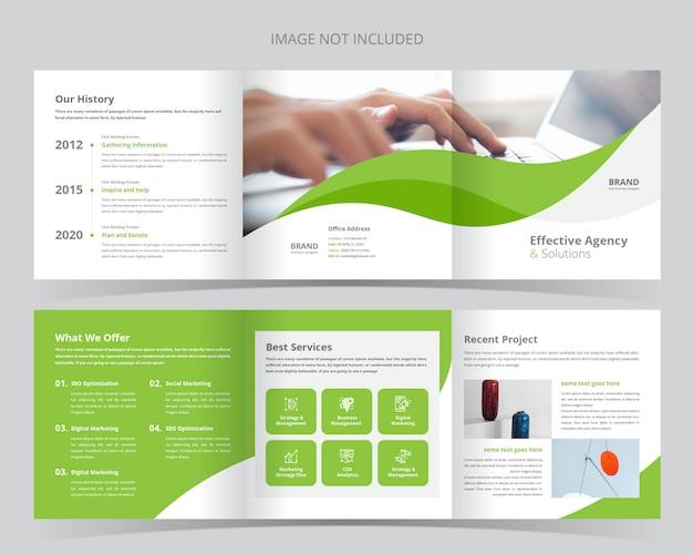 Modelo de brochura - negócio quadrado com três dobras