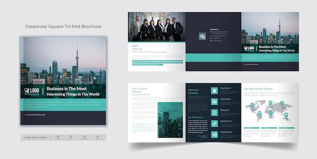 Modelo de brochura - quadrado dobrável em três partes