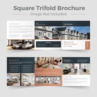 Modelo de brochura - quadrado imobiliário com três dobras