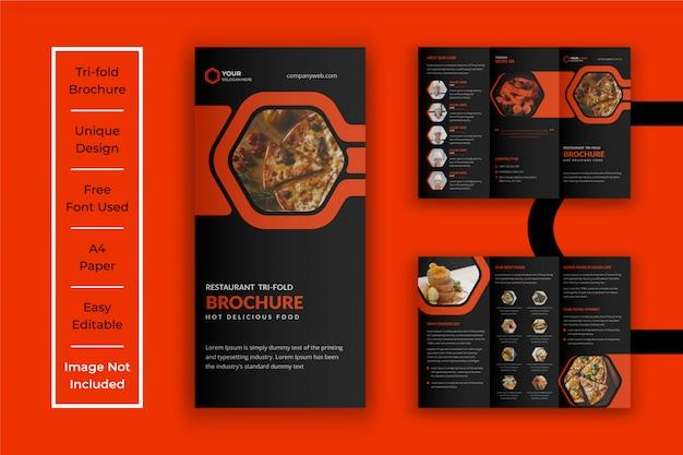 Modelo de brochura - restaurante dobrável em três partes