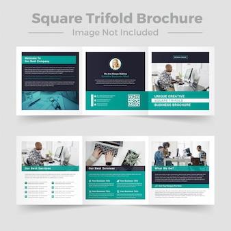 Modelo de brochura - três dobras quadradas