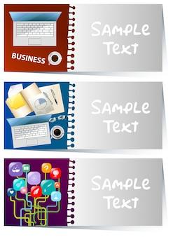 Modelo de businesscard com itens de negócios