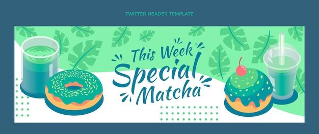 Modelo de cabeçalho de twitter de comida matcha plana