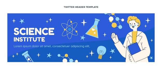 Modelo de cabeçalho do twitter de ciência de design plano