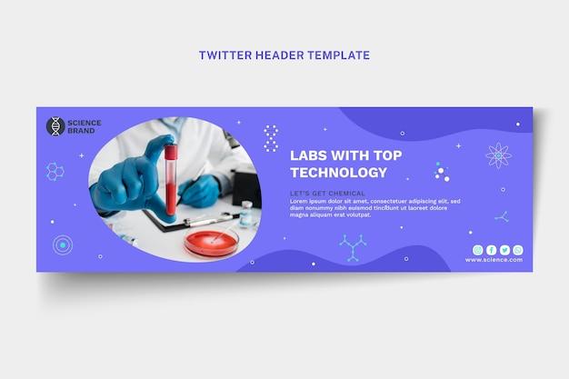 Modelo de cabeçalho do twitter de ciência plana