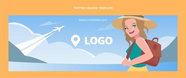 Modelo de cabeçalho do twitter de viagens de design plano