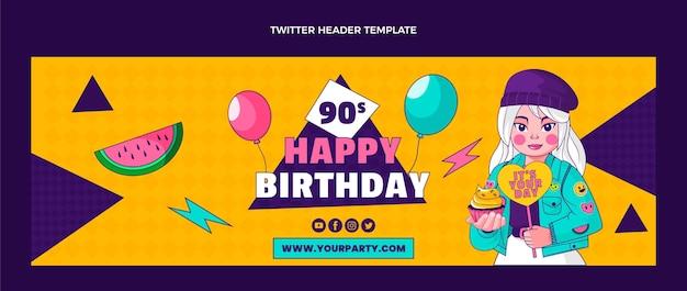 Modelo de cabeçalho do twitter do aniversário de 90 anos desenhado à mão