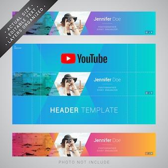 Modelo de cabeçalho do youtube