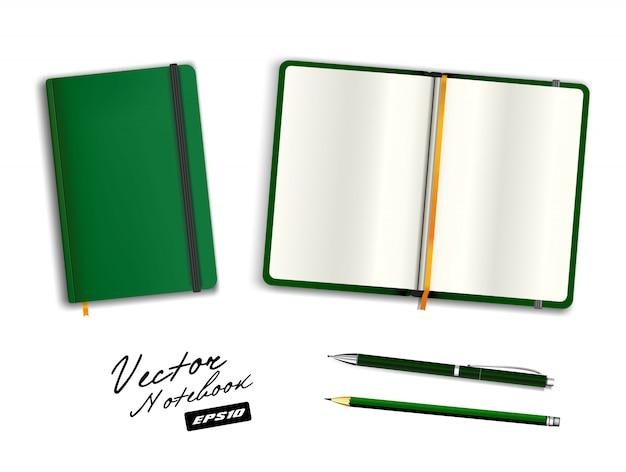 Modelo de caderno aberto e fechado verde em branco com faixa elástica e marcador. artigos de papelaria realista em branco verde caneta e lápis. ilustração de caderno em fundo branco. Vetor Premium