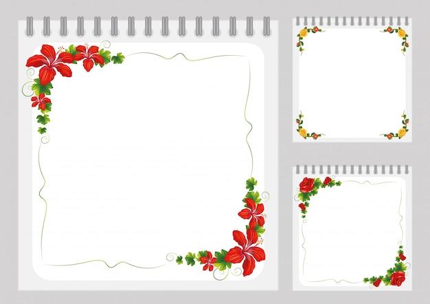 Modelo de caderno com quadros de flores coloridas