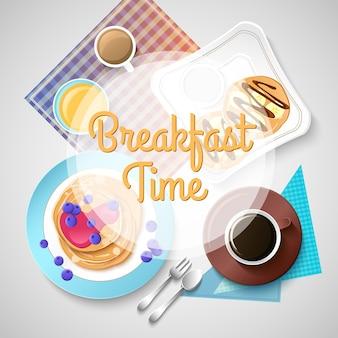 Modelo de café da manhã colorido com refeições saborosas tradicionais, sobremesas e bebidas quentes na ilustração light