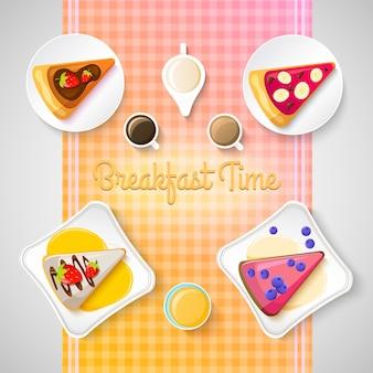Modelo de café da manhã doce com pedaços de torta saborosa e ingredientes diferentes na ilustração azul