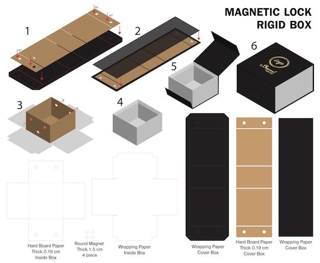 Modelo de caixa de ímã rígido 3d maquete com dieline