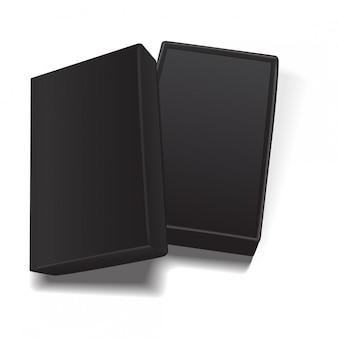Modelo de caixa de papelão retangular vazio aberto preto.