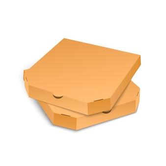 Modelo de caixa de pizza de papelão isolado no fundo branco.